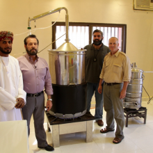 Mr. Abdullah Hamdan, Gary, Dr. Suhail, & Cole Woolley at frankincense distillery