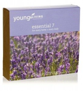 Young Living's Essential 7 Kit, a box with lavender plants on the front