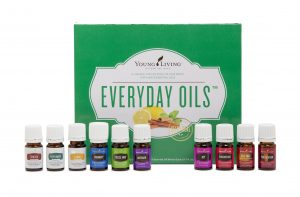 Young Living's Everyday Oils Collection contains the essential oils of Thieves Vitality, Peppermint Vitality, Lemon Vitality, PanAway, Stress Away, Lavender, Joy, Frankincense, Tea Tree, and Purification.